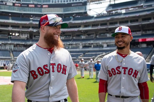 WASHINGTON, DC - JULY 16: Craig Kimbrel #46 and Mookie Betts #50 of the Boston Red Sox react during All-Star Workout Day at Nationals Park Monday, July 16, 2018 in Washington, DC. (Photo by Billie Weiss/Boston Red Sox/Getty Images) *** Local Caption *** Craig Kimbrel; Mookie Betts
