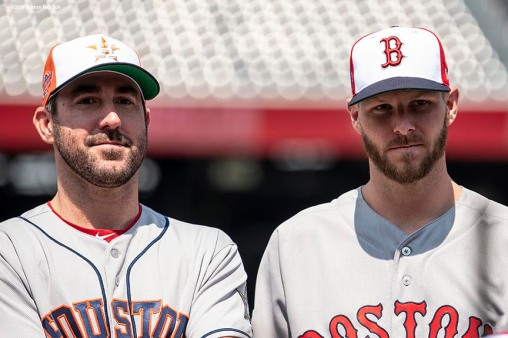 WASHINGTON, DC - JULY 16: Justin Verlander #35 of the Houston Astros and Chris Sale #41 of the Boston Red Sox look on during All-Star Workout Day at Nationals Park Monday, July 16, 2018 in Washington, DC. (Photo by Billie Weiss/Boston Red Sox/Getty Images) *** Local Caption *** Chris Sale; Justin Verlander