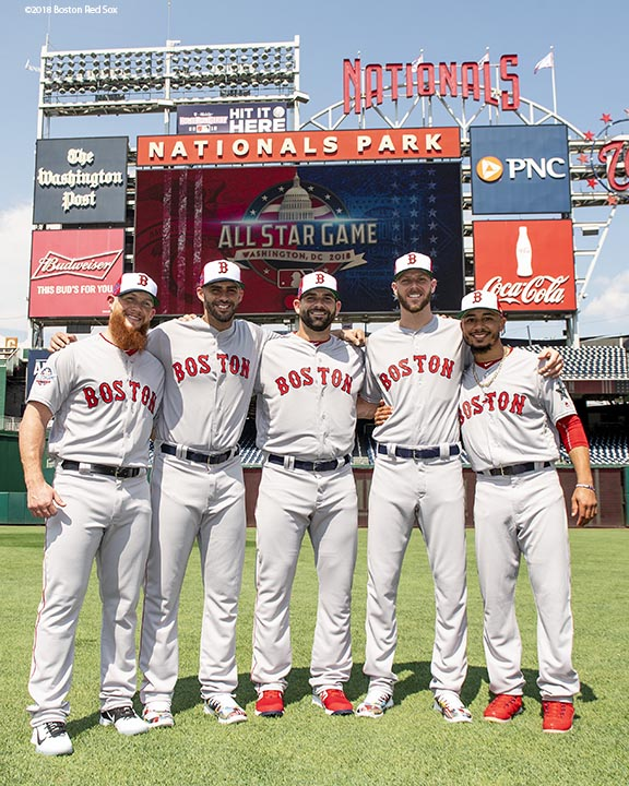 WASHINGTON, DC - JULY 16: Craig Kimbrel #46, J.D. Martinez #28, Mitch Moreland #18, Chris Sale #41, and Mookie Betts #50 of the Boston Red Sox pose for a group photograph during All-Star Workout Day at Nationals Park Monday, July 16, 2018 in Washington, DC. (Photo by Billie Weiss/Boston Red Sox/Getty Images) *** Local Caption *** Craig Kimbrel; Mookie Betts; Chris Sale; J.D. Martinez; Mitch Moreland