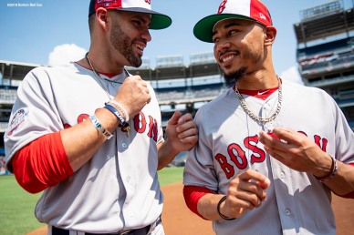 WASHINGTON, DC - JULY 16: J.D. Martinez #28 and Mookie Betts #50 of the Boston Red Sox react during All-Star Workout Day at Nationals Park Monday, July 16, 2018 in Washington, DC. (Photo by Billie Weiss/Boston Red Sox/Getty Images) *** Local Caption *** J.D. Martinez; Mookie Betts