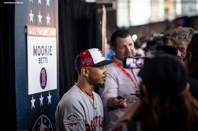 WASHINGTON, DC - JULY 16: Mookie Betts #50 of the Boston Red Sox speaks during media availability during All-Star Workout Day at Nationals Park Monday, July 16, 2018 in Washington, DC. (Photo by Billie Weiss/Boston Red Sox/Getty Images) *** Local Caption *** Mookie Betts