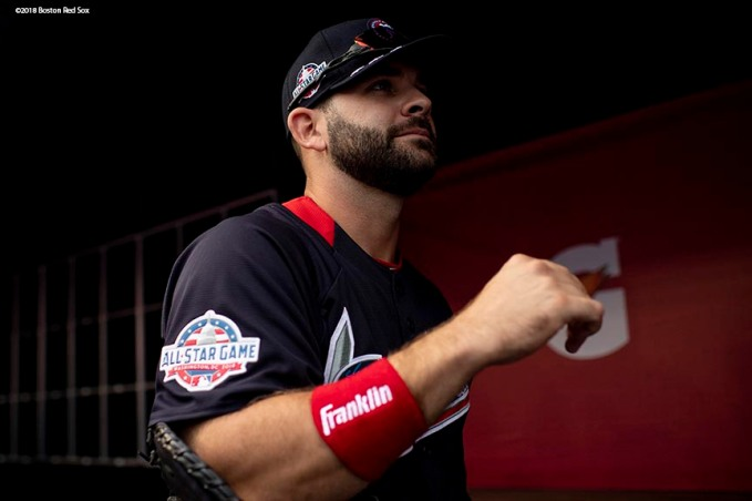WASHINGTON, DC - JULY 16: Mitch Moreland #18 of the Boston Red Sox looks on during All-Star Workout Day at Nationals Park Monday, July 16, 2018 in Washington, DC. (Photo by Billie Weiss/Boston Red Sox/Getty Images) *** Local Caption *** Mitch Moreland