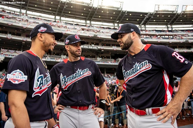 WASHINGTON, DC - JULY 17: Mookie Betts #50, J.D. Martinez #28, and Mitch Moreland #18 of the Boston Red Sox talk before the 89th MLB All-Star Game at Nationals Park Tuesday, July 17, 2018 in Washington, DC. (Photo by Billie Weiss/Boston Red Sox/Getty Images) *** Local Caption *** J.D. Martinez; Mookie Betts; Mitch Moreland