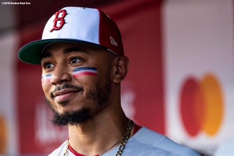 WASHINGTON, DC - JULY 17: Mookie Betts #50 of the Boston Red Sox looks on before the 89th MLB All-Star Game at Nationals Park Tuesday, July 17, 2018 in Washington, DC. (Photo by Billie Weiss/Boston Red Sox/Getty Images) *** Local Caption *** Mookie Betts