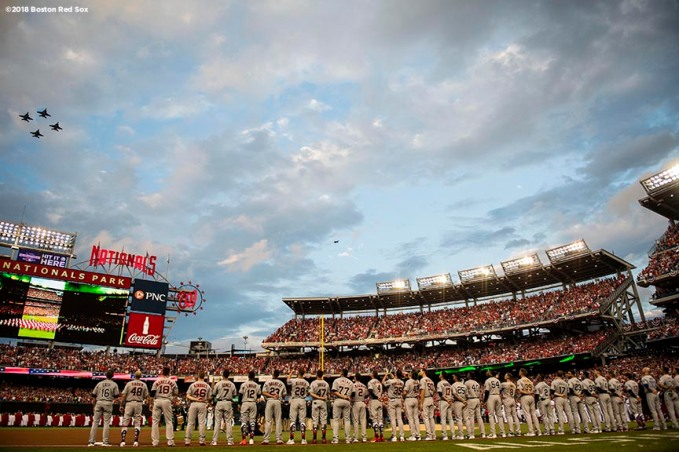 WASHINGTON, DC - JULY 17: A flyover is held as starting lineups are introduced before the 89th MLB All-Star Game at Nationals Park Tuesday, July 17, 2018 in Washington, DC. (Photo by Billie Weiss/Boston Red Sox/Getty Images) *** Local Caption ***
