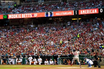 WASHINGTON, DC - JULY 17: Mookie Betts #50 of the Boston Red Sox bats during the first inning of the 89th MLB All-Star Game at Nationals Park Tuesday, July 17, 2018 in Washington, DC. (Photo by Billie Weiss/Boston Red Sox/Getty Images) *** Local Caption *** Mookie Betts