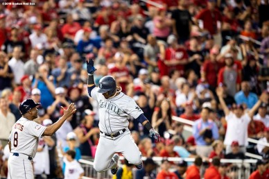 WASHINGTON, DC - JULY 17: Jean Segura #2 of the Seattle Mariners reacts after hitting a three run home run during the eighth inning of the 89th MLB All-Star Game at Nationals Park Tuesday, July 17, 2018 in Washington, DC. (Photo by Billie Weiss/Boston Red Sox/Getty Images) *** Local Caption *** Jean Segura