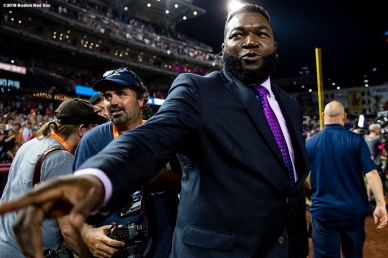 WASHINGTON, DC - JULY 17: Former designated hitter David Ortiz of the Boston Red Sox reacts after the 89th MLB All-Star Game at Nationals Park Tuesday, July 17, 2018 in Washington, DC. (Photo by Billie Weiss/Boston Red Sox/Getty Images) *** Local Caption *** David Ortiz