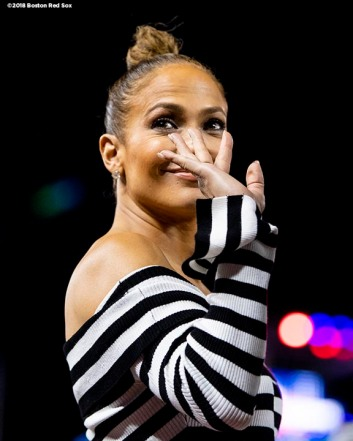 WASHINGTON, DC - JULY 17: Actor Jennifer Lopez of the Boston Red Sox waves after the 89th MLB All-Star Game at Nationals Park Tuesday, July 17, 2018 in Washington, DC. (Photo by Billie Weiss/Boston Red Sox/Getty Images) *** Local Caption *** Jennifer Lopez