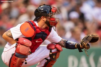 BOSTON, MA - AUGUST 2: Blake Swihart #23 of the Boston Red Sox catches during the first inning of a game against the New York Yankees on August 2, 2018 at Fenway Park in Boston, Massachusetts. (Photo by Billie Weiss/Boston Red Sox/Getty Images) *** Local Caption *** Blake Swihart