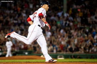BOSTON, MA - AUGUST 2: Steve Pearce #25 of the Boston Red Sox rounds the bases after hitting a solo home run during the third inning of a game against the New York Yankees on August 2, 2018 at Fenway Park in Boston, Massachusetts. (Photo by Billie Weiss/Boston Red Sox/Getty Images) *** Local Caption *** Steve Pearce