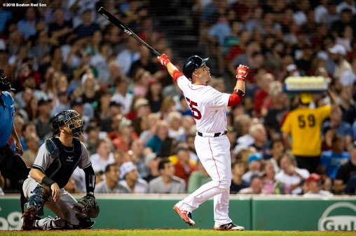 BOSTON, MA - AUGUST 2: Steve Pearce #25 of the Boston Red Sox hits a go ahead three run home run during the fourth inning of a game against the New York Yankees on August 2, 2018 at Fenway Park in Boston, Massachusetts. It was his second home run of the game. (Photo by Billie Weiss/Boston Red Sox/Getty Images) *** Local Caption *** Steve Pearce