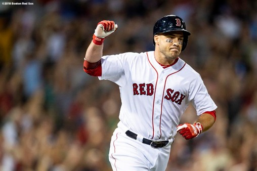 BOSTON, MA - AUGUST 2: Steve Pearce #25 of the Boston Red Sox reacts after hitting a go ahead three run home run during the fourth inning of a game against the New York Yankees on August 2, 2018 at Fenway Park in Boston, Massachusetts. It was his second home run of the game. (Photo by Billie Weiss/Boston Red Sox/Getty Images) *** Local Caption *** Steve Pearce