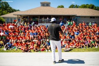 BOSTON, MA - AUGUST 2: Former designated hitter David Ortiz #34 of the Boston Red Sox speaks to campers during a visit to Camp harbor View on August 2, 2018 in Boston, Massachusetts. (Photo by Billie Weiss/Boston Red Sox/Getty Images) *** Local Caption *** David Ortiz