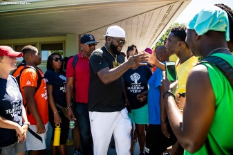 BOSTON, MA - AUGUST 2: Former designated hitter David Ortiz #34 of the Boston Red Sox greets campers during a visit to Camp harbor View on August 2, 2018 in Boston, Massachusetts. (Photo by Billie Weiss/Boston Red Sox/Getty Images) *** Local Caption *** David Ortiz