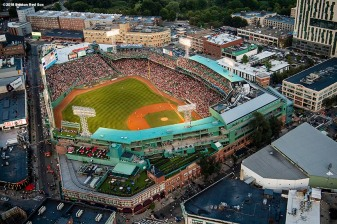 BOSTON, MA - AUGUST 3: An aerial view of Fenway Park during a game between the Boston Red Sox and the New York Yankees on August 3, 2018 at Fenway Park in Boston, Massachusetts. (Photo by Billie Weiss/Boston Red Sox/Getty Images) *** Local Caption ***