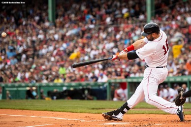 BOSTON, MA - AUGUST 4: Mitch Moreland #18 of the Boston Red Sox hits a two run home run during the first inning of a game against the New York Yankees on August 4, 2018 at Fenway Park in Boston, Massachusetts. (Photo by Billie Weiss/Boston Red Sox/Getty Images) *** Local Caption *** Mitch Moreland