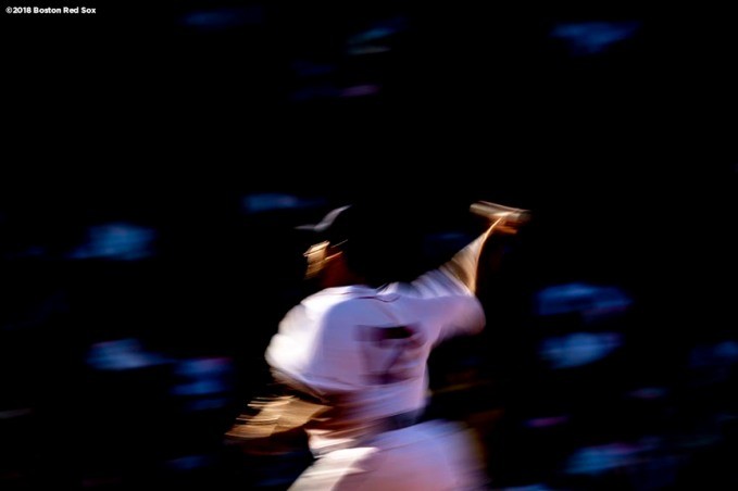 BOSTON, MA - AUGUST 4: Nathan Eovaldi #17 of the Boston Red Sox delivers during the fifth inning of a game against the New York Yankees on August 4, 2018 at Fenway Park in Boston, Massachusetts. (Photo by Billie Weiss/Boston Red Sox/Getty Images) *** Local Caption *** Nathan Eovaldi