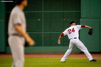 BOSTON, MA - AUGUST 5: David Price #24 of the Boston Red Sox warms up as Masahiro Tanaka #19 of the New York Yankees looks on before a game on August 5, 2018 at Fenway Park in Boston, Massachusetts. (Photo by Billie Weiss/Boston Red Sox/Getty Images) *** Local Caption *** David Price; Masahiro Tanaka