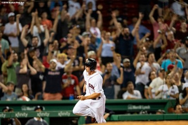 BOSTON, MA - AUGUST 5: Tony Renda #38 of the Boston Red Sox scores the game winning run during the tenth inning of a game against the New York Yankees on August 5, 2018 at Fenway Park in Boston, Massachusetts. (Photo by Billie Weiss/Boston Red Sox/Getty Images) *** Local Caption *** Tony Renda