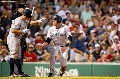 BOSTON, MA - AUGUST 5: Brett Gardner #11 and Austin Romine #28 of the New York Yankees react after scoring during the seventh inning of a game against the Boston Red Sox on August 5, 2018 at Fenway Park in Boston, Massachusetts. (Photo by Billie Weiss/Boston Red Sox/Getty Images) *** Local Caption *** Brett Gardner; Austin Romine