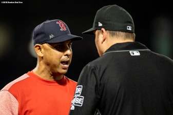 BOSTON, MA - AUGUST 5: Manager Alex Cora of the Boston Red Sox argues with first base umpire Dan Bellino during the seventh inning of a game against the New York Yankees on August 5, 2018 at Fenway Park in Boston, Massachusetts. (Photo by Billie Weiss/Boston Red Sox/Getty Images) *** Local Caption *** Alex Cora; Dan Bellino