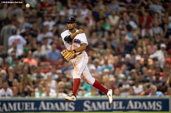 BOSTON, MA - AUGUST 5: Xander Bogaerts #2 of the Boston Red Sox throws to first base during the eighth inning of a game against the New York Yankees on August 5, 2018 at Fenway Park in Boston, Massachusetts. (Photo by Billie Weiss/Boston Red Sox/Getty Images) *** Local Caption *** Xander Bogaerts