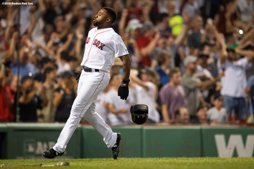 BOSTON, MA - AUGUST 5: Jackie Bradley Jr. #19 of the Boston Red Sox reacts as he scores during the ninth inning of a game against the New York Yankees on August 5, 2018 at Fenway Park in Boston, Massachusetts. (Photo by Billie Weiss/Boston Red Sox/Getty Images) *** Local Caption *** Jackie Bradley Jr.