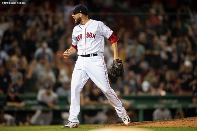 BOSTON, MA - AUGUST 5: Matt Barnes #32 of the Boston Red Sox reacts during the tenth inning of a game against the New York Yankees on August 5, 2018 at Fenway Park in Boston, Massachusetts. (Photo by Billie Weiss/Boston Red Sox/Getty Images) *** Local Caption *** Matt Barnes