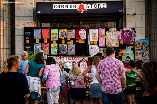 August 9, 2018, Boston, MA: Fans purchase merchandise during a Jimmy Buffett concert at Fenway Park in Boston, Massachusetts Thursday, August 9, 2018. (Photo by Billie Weiss/Boston Red Sox)