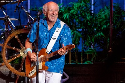 August 9, 2018, Boston, MA: Jimmy Buffett performs during a concert at Fenway Park in Boston, Massachusetts Thursday, August 9, 2018. (Photo by Billie Weiss/Boston Red Sox)