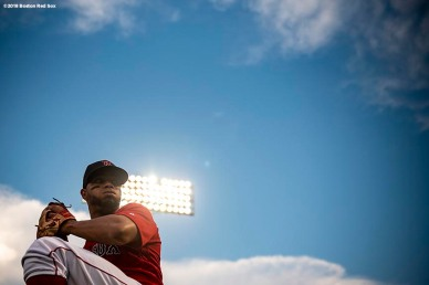 BOSTON, MA - AUGUST 17: Xander Bogaerts #2 of the Boston Red Sox warms up before a game against the Tampa Bay Rays on August 17, 2018 at Fenway Park in Boston, Massachusetts. (Photo by Billie Weiss/Boston Red Sox/Getty Images) *** Local Caption *** Xander Bogaerts