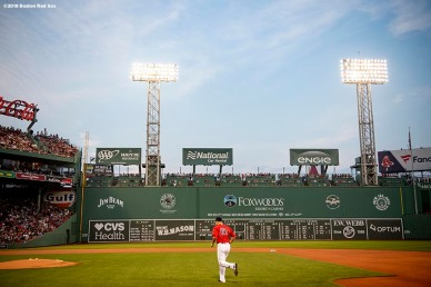BOSTON, MA - AUGUST 17: Brian Johnson #61 of the Boston Red Sox runs onto the field before a game against the Tampa Bay Rays on August 17, 2018 at Fenway Park in Boston, Massachusetts. (Photo by Billie Weiss/Boston Red Sox/Getty Images) *** Local Caption *** Brian Johnson