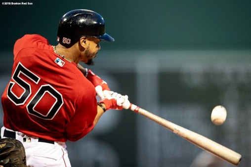 BOSTON, MA - AUGUST 17: Mookie Betts #50 of the Boston Red Sox bats during the inning of a game against the Tampa Bay Rays on August 17, 2018 at Fenway Park in Boston, Massachusetts. (Photo by Billie Weiss/Boston Red Sox/Getty Images) *** Local Caption *** Mookie Betts
