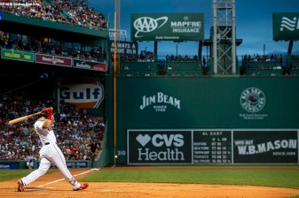 BOSTON, MA - AUGUST 18: Andrew Benintendi #16 of the Boston Red Sox hits a double during the first inning of a game against the Tampa Bay Rays on August 18, 2018 at Fenway Park in Boston, Massachusetts. (Photo by Billie Weiss/Boston Red Sox/Getty Images) *** Local Caption *** Andrew Benintendi