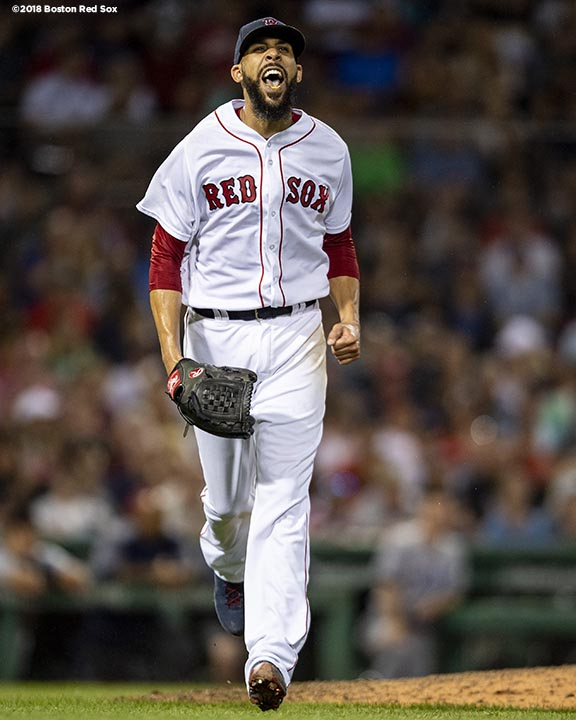 BOSTON, MA - AUGUST 18: David Price #24 of the Boston Red Sox reacts during the seventh inning of a game against the Tampa Bay Rays on August 18, 2018 at Fenway Park in Boston, Massachusetts. (Photo by Billie Weiss/Boston Red Sox/Getty Images) *** Local Caption *** David Price