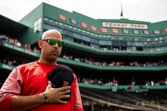 BOSTON, MA - AUGUST 19: Manager Alex Cora of the Boston Red Sox looks on before game against the Tampa Bay Rays on August 19, 2018 at Fenway Park in Boston, Massachusetts. (Photo by Billie Weiss/Boston Red Sox/Getty Images) *** Local Caption *** Alex Cora