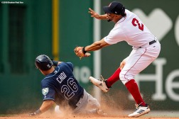 BOSTON, MA - AUGUST 19: Ji-Man Choi #26 of the Tampa Bay Rays steals second base as he evades the tag of Xander Bogaerts #2 of the Boston Red Sox during the ninth inning of a game on August 19, 2018 at Fenway Park in Boston, Massachusetts. (Photo by Billie Weiss/Boston Red Sox/Getty Images) *** Local Caption *** Ji-Man Choi; Xander Bogaerts