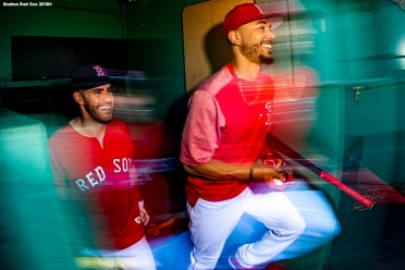 BOSTON, MA - AUGUST 20: J.D. Martinez #28 and Mookie Betts #50 of the Boston Red Sox exit the dugout before a game against the Cleveland Indians on August 20, 2018 at Fenway Park in Boston, Massachusetts. (Photo by Billie Weiss/Boston Red Sox/Getty Images) *** Local Caption *** J.D. Martinez; Mookie Betts