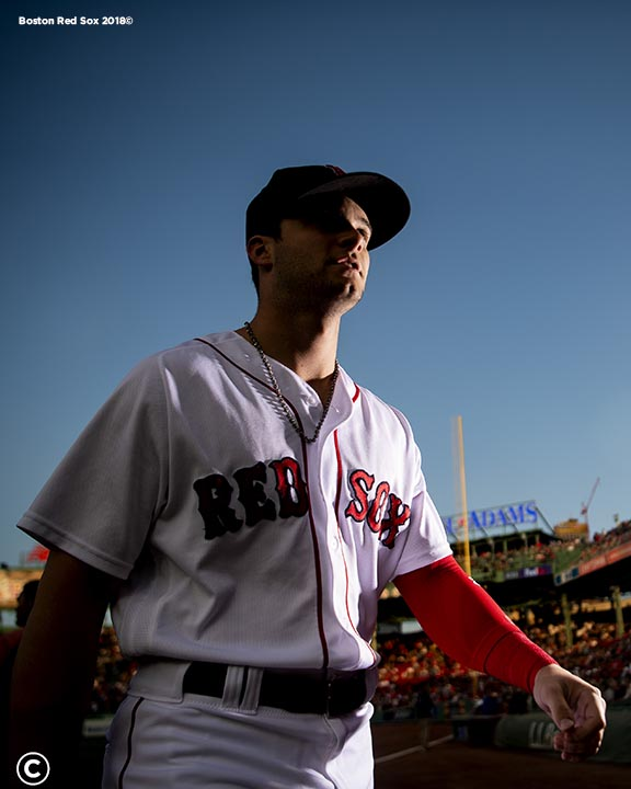 BOSTON, MA - AUGUST 20: Andrew Benintendi #16 of the Boston Red Sox walks toward the dugout before a game against the Cleveland Indians on August 20, 2018 at Fenway Park in Boston, Massachusetts. (Photo by Billie Weiss/Boston Red Sox/Getty Images) *** Local Caption *** Andrew Benintendi