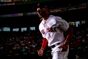 BOSTON, MA - AUGUST 20: Mookie Betts #50 of the Boston Red Sox runs out of the dugout before a game against the Cleveland Indians on August 20, 2018 at Fenway Park in Boston, Massachusetts. (Photo by Billie Weiss/Boston Red Sox/Getty Images) *** Local Caption *** Mookie Betts