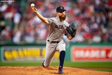 BOSTON, MA - AUGUST 20: Corey Kluber #28 of the Cleveland Indians delivers during the first inning of a game against the Boston Red Sox on August 20, 2018 at Fenway Park in Boston, Massachusetts. (Photo by Billie Weiss/Boston Red Sox/Getty Images) *** Local Caption *** Corey Kluber