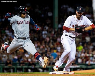 BOSTON, MA - AUGUST 20: Rick Porcello #22 of the Boston Red Sox covers as Francisco Lindor #12 of the Cleveland Indians reaches first base on an infield single during the sixth inning of a game on August 20, 2018 at Fenway Park in Boston, Massachusetts. (Photo by Billie Weiss/Boston Red Sox/Getty Images) *** Local Caption *** Rick Porcello; Francisco Lindor