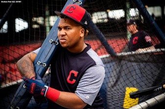 BOSTON, MA - AUGUST 21: Jose Ramirez #11 of the Cleveland Indians takes batting practice before a game against the Boston Red Sox on August 21, 2018 at Fenway Park in Boston, Massachusetts. (Photo by Billie Weiss/Boston Red Sox/Getty Images) *** Local Caption *** Jose Ramirez