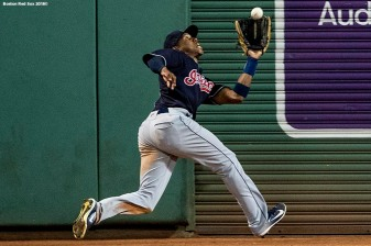 BOSTON, MA - AUGUST 21: Greg Allen #1 of the Cleveland Indians makes a catch in the seventh inning of a game against the Boston Red Sox on August 21, 2018 at Fenway Park in Boston, Massachusetts. (Photo by Billie Weiss/Boston Red Sox/Getty Images) *** Local Caption *** Greg Allen