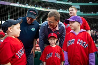 BOSTON, MA - AUGUST 21: President & CEO Emeritus Larry Lucchino and President Sam Kennedy of the Boston Red Sox greet patients from the Jimmy Fund before a game against the Cleveland Indians on August 21, 2018 at Fenway Park in Boston, Massachusetts. (Photo by Billie Weiss/Boston Red Sox/Getty Images) *** Local Caption *** Larry Lucchino; Sam Kennedy