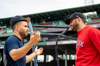 BOSTON, MA - SEPTEMBER 7: Jose Altuve #27 of the Houston Astros talks with J.D. Martinez #28 of the Boston Red Sox before a game on September 7, 2018 at Fenway Park in Boston, Massachusetts. (Photo by Billie Weiss/Boston Red Sox/Getty Images) *** Local Caption *** Jose Altuve; J.D. Martinez