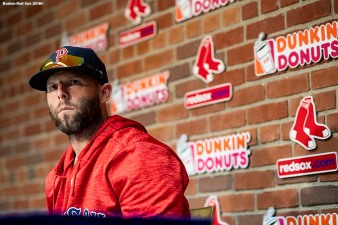 BOSTON, MA - SEPTEMBER 7: Dustin Pedroia #15 of the Boston Red Sox addresses the media during a press conference announcing that he will not return this season before a game against the Houston Astros on September 7, 2018 at Fenway Park in Boston, Massachusetts. (Photo by Billie Weiss/Boston Red Sox/Getty Images) *** Local Caption *** Dustin Pedroia