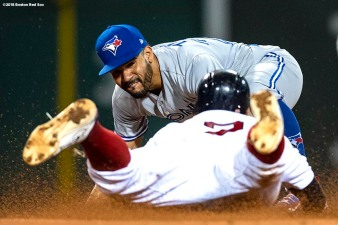 BOSTON, MA - SEPTEMBER 12: Xander Bogaerts #2 of the Boston Red Sox is tagged out by Devon Travis #29 of the Toronto Blue Jays during the fourth inning of a game on September 12, 2018 at Fenway Park in Boston, Massachusetts. (Photo by Billie Weiss/Boston Red Sox/Getty Images) *** Local Caption *** Devon Travis; Xander Bogaerts