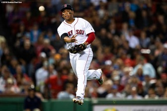 BOSTON, MA - SEPTEMBER 12: Rafael Devers #11 of the Boston Red Sox throws to first base during the seventh inning of a game against the Toronto Blue Jays on September 12, 2018 at Fenway Park in Boston, Massachusetts. (Photo by Billie Weiss/Boston Red Sox/Getty Images) *** Local Caption *** Rafael Devers